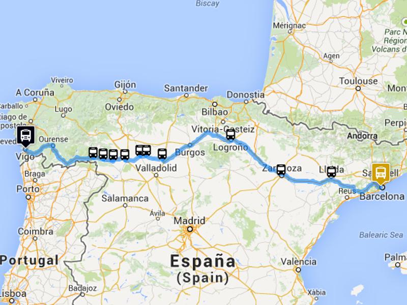 Map Of Spain Vigo.Vigo Barcelona Monbus