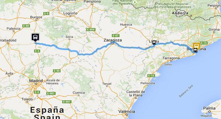 Aranda Del Duero Mapa.Aranda De Duero Barcelona Monbus