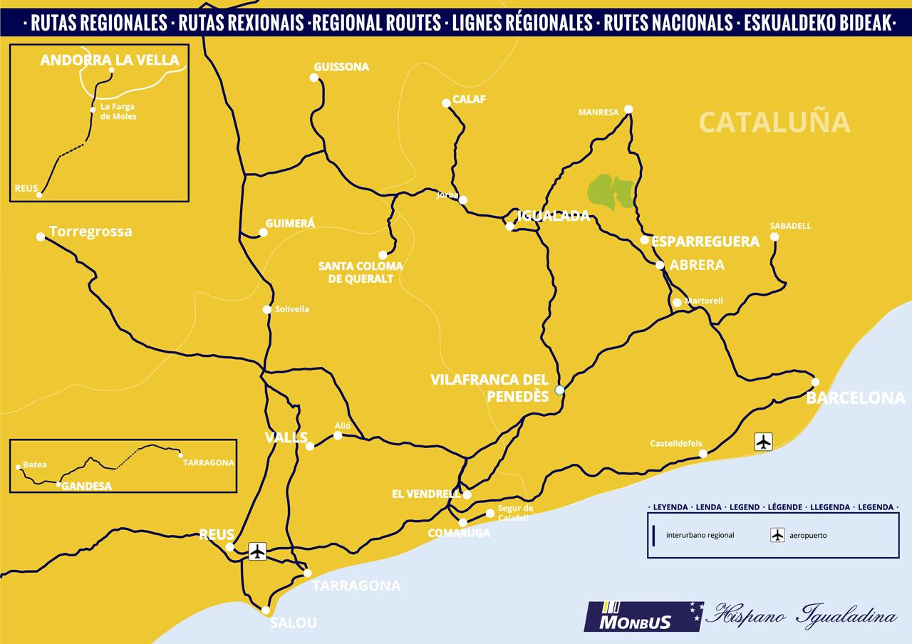 Map Of Spain Reus.Regional Routes Bus Catalonia Monbus